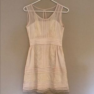 Anthropologie cream/blush dress